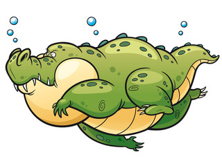 Vector illustration of Cartoon crocodile swim