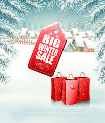 Christmas background with a sale tag and a shopping bags. Vector.