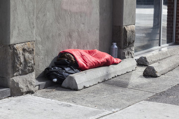 Homeless person on the sidewalk