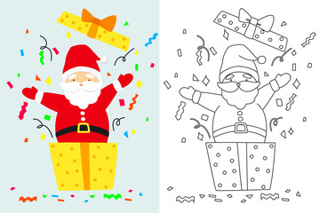 Santa popping out from a Christmas present box. Outline, black and white cartoon vector for coloring page.