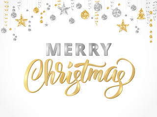 Merry Christmas hand written lettering. Gold and silver glitter border, garland with hanging balls and ribbons.
