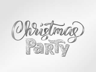 Christmas party hand written lettering. Sparkling glitter silver typography, modern calligraphy