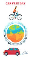 Car Free Day Symbol Vector Illustration