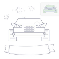 Black and white line drawing. Car coloring page.