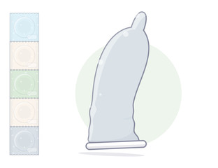 Cartoon condom. Isolated on white background.