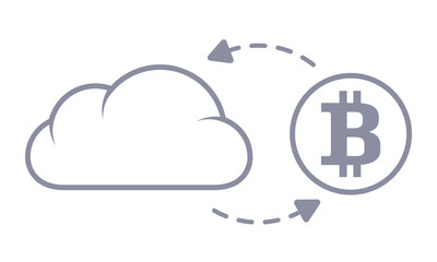 Bitcoin sync with the cloud. Line style icon.