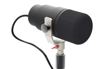 3d render of studio microphone isolated on white background