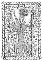 March month graphic concept in frame. Hand drawn engraved illustration. Handsome magician of spring holding wand against the background of flying birds.