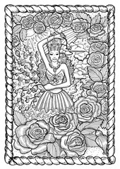 May month graphic concept in frame. Hand drawn engraved illustration. Beautiful queen of flowers against the background of spring storms and roses