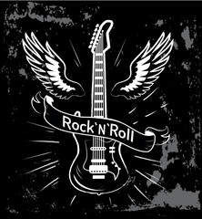 Rock n roll Guitar and Wings Vector Illustration