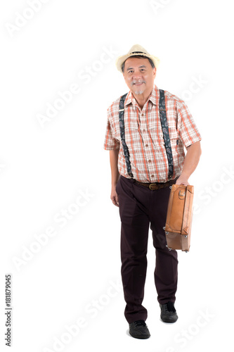 6fdfc8c31e0aa Old man with suitcase isolated on white background.