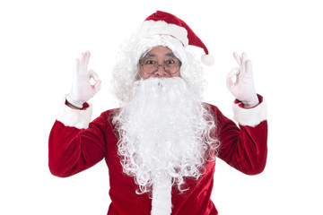 Portrait of Santa Claus showing ok, isolated on white background