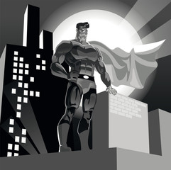 Superhero on urban background