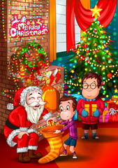 Santa Claus giving gift to kid in Merry Christmas holiday background