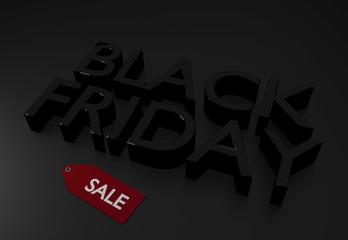 Black Friday 3D text written on dark surface