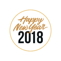 Happy New Year 2018 Card Template Design with Golden Text, Circle Ring Illustration Element Background at Midnight Scene. Poster, Banner, Flyer, Cover.