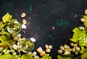 Champagne In Glasses, Grapes With Vine, Black Background, Top View