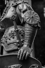 Hand in armour of the medieval knight statue