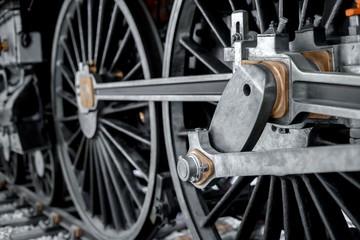 Wheels of an old locomotive