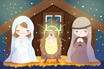 Christmas with baby Jesus