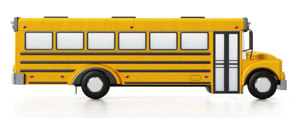 Yellow school bus isolated on white background. 3D illustration