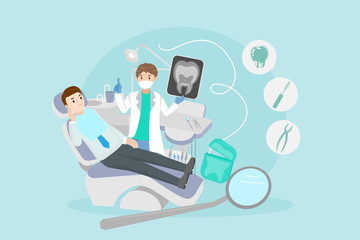 cartoon dentist with patient