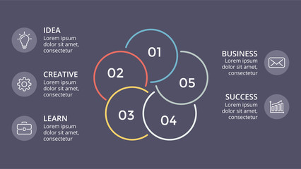Vector circle linear arrows infographic, cycle diagram, graph, presentation chart. Business concept with 5 options, parts, steps, processes. Dark slide 16x9.