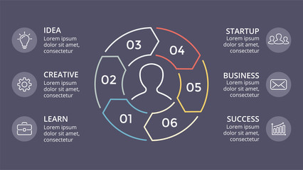 Vector circle linear arrows infographic, cycle diagram, graph, presentation chart. Business concept with 3 options, parts, steps, processes. Dark slide 16x9.