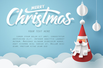 Paper art of Merry Christmas calligraphy hand lettering with Santa claus