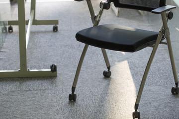 Black office chair closeup.