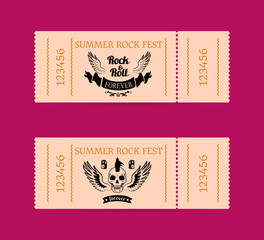 Summer Rock Fest Tickets Isolated on Dark Pink