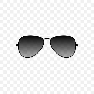 Realistic sunglasses with a translucent black glass on a transparent background. Protection from sun and ultraviolet rays. Fashion accessory vector illustration.