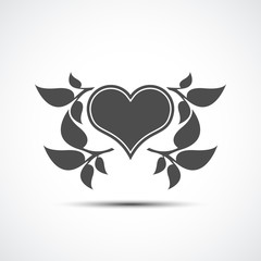 Abstract heart icon with shadow. Abstract heart and leaf logo template.