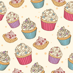 Cute and sweet seamless pattern with muffins. Hand Drawn vector illustration. Wrapping paper pattern. Background with abstract elements.