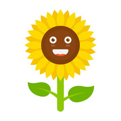 Flower with smiley face, smiling sunflower.