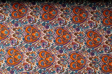 Texture background pattern. Traditional Indian Paisley pattern.  decorative border for textile, wrapping, decor.