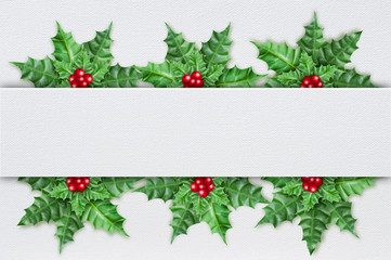 christmas card with holly berry ornament