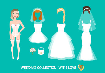 Set of clothes for the bride in cartoon style.