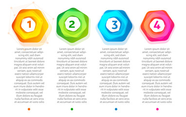 Abstract steps. Colorful hexagon frame with numbers 1,2,3,4. Web infographics elements.