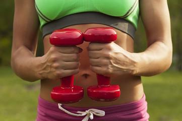 sporty girl holding dumbbells. sports figure, muscles. tors sport girl
