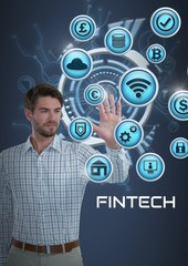 Businessman touching Fintech with various busincons