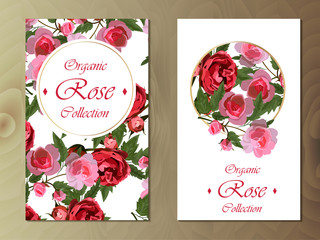 rose card on wooden background
