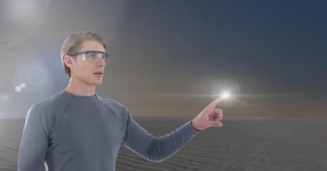 Businessman touching air glow