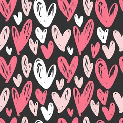 Abstract seamless pattern with hand drawn hearts. Ink illustration.