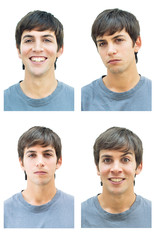 Retrato de fotomatón de hombre joven con expresión sonriente, serio, amenazante y triste. Foto en color.