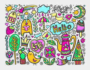 set of doodle sketch drawing nice elements in bright colors