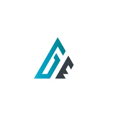 Initial Letter GE Linked Triangle Design Logo