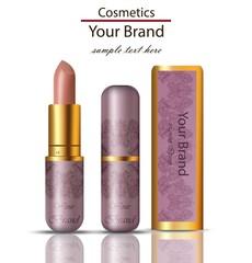 Lipstick cosmetics realistic Mock up Vector. Matt lipgloss with lace ornament packaging original design. Pink powder colors