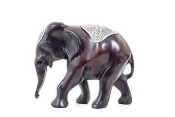 Elephant statue from india. Elephant decoration souvenir from india. Isolated white studio photo. Shiny elephant statue.