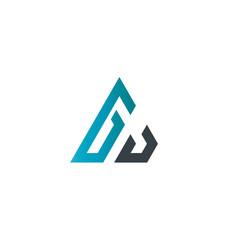 Initial Letter GJ Linked Triangle Design Logo